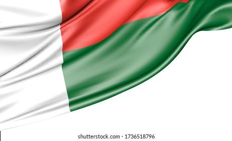Madagascar flag isolated on white background, 3D illustration