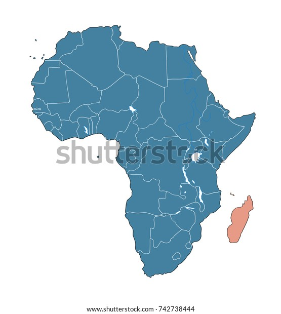 Madagascar On African Map Stock Image Download Now