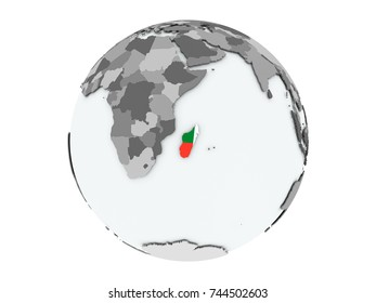 Madagascar on political globe with embedded flags. 3D illustration isolated on white background.