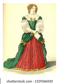 Madame de Grignan, vintage engraved illustration. 12th to 18th century Fashion By Image.