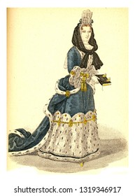 Madame de Maintenon, vintage engraved illustration. 12th to 18th century Fashion By Image.