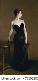 MADAME X, by John Singer Sargent, 1883-84, American painting, oil on canvas. Dramatic portrait of Madame Pierre Gautreau, a Louisiana-born Parisian socialite, was painted when Sargent was still in his