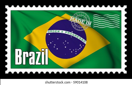 Made in Brazil original stamp