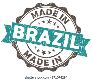 made in brazil turquoise grunge seal isolated on white background