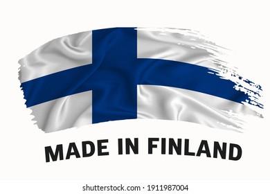 Made in Finland handwritten vintage ribbon flag, brush stroke, typography lettering logo label banner on white background.
