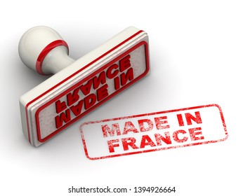 Made in France. Seal and imprint. Red rubber stamp and red print MADE IN FRANCE on white surface. Isolated. 3D Illustration