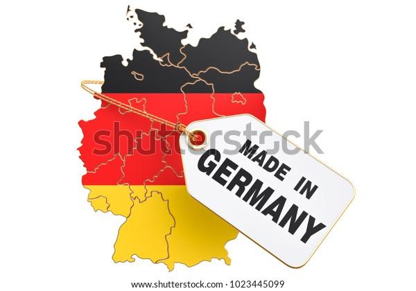 Made in Germany concept, 3D-Rendering einzeln auf weißem Hintergrund