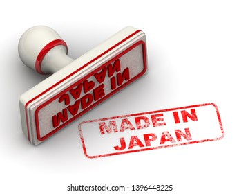 Made in Japan. Seal and imprint. Red rubber stamp and red print MADE IN JAPAN on white surface. Isolated. 3D Illustration