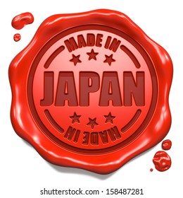 Made in Japan - Stamp on Red Wax Seal Isolated on White. Business Concept. 3D Render.