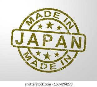 Made in Japan stamp shows Japanese products produced or fabricated in Asia. Quality patriotic exports for international trade - 3d illustration