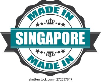 Made In Singapore Grunge Rubber Stamp with Star And Ribbon. (Sticker, Tag, Icon, Symbol)