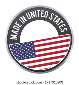 Made in united states flag badge on white background.