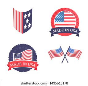Made in usa promo emblems with national flag set. patriotic stickers that have stars and stripes on them isolated cartoon flat raster illustrations.