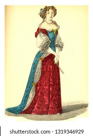 Mademoiselle de Fontaines, vintage engraved illustration. 12th to 18th century Fashion By Image.