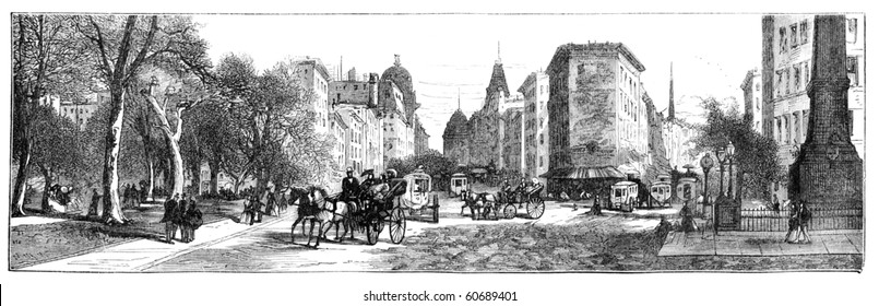 """Madison Square, New York. Illustration originally published in Hesse-Wartegg's """"Nord Amerika"""", swedish edition published in 1880. The image is currently in public domain by the virtue of age."""