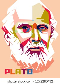 Madiun, Indonesia - January 02, 2019 :Plato was a philosopher in Classical Greece and the founder of the Academy in Athens, the first institution of higher learning in the Western world