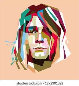 Madiun, Indonesia - January 02, 2019 : Kurt Donald Cobain (February 20, 1967 – April 5, 1994) was an American singer, songwriter, and musician. Vocalist of the rock band Nirvana.