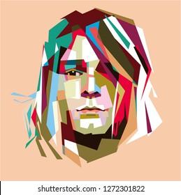 Madiun, Indonesia - January 02, 2019 : Kurt Donald Cobain (February 20, 1967 – April 5, 1994) was an American singer, songwriter, and musician