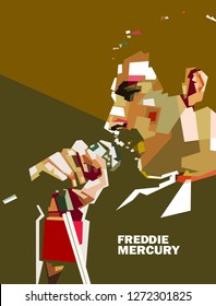 Madiun, Indonesia - January 02, 2019 :Freddie Mercury was a British singer-songwriter and record producer, best known as the lead vocalist of the rock band Queen