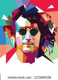 Madiun, Indonesia - January 03, 2019 : John Winston Ono Lennon [a] MBE (9 Oktober 1940 - 8 Desember 1980) adalah seorang penyanyi dan penulis lagu