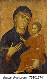 MADONNA AND CHILD, by Berlinghiero, 1230s, Italian Medieval, painting, oil on wood. Painted in the style of a Byzantine icon, this Tuscan Italian work also evidences growing Western European realism i