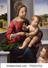 MADONNA AND CHILD WITH THE YOUNG ST. JOHN THE BAPTIST, by Fra Bartolomeo, 1497, Italian Renaissance oil painting. This work was painted three years before the artist became a Dominican friar in 1500,
