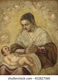 The Madonna of the Stars, by Jacopo Tintoretto, 1550-99, Italian painting, oil on canvas. Virgin Mary is seated with the Christ child lying across her knees. The stars encircle her head identify her