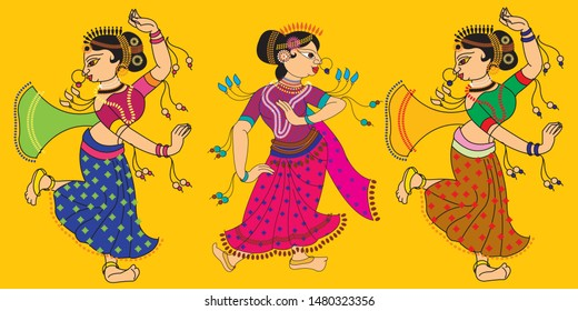 Madubhani Indian traditional art on linen fabrics. beautiful dancers, for textile printing
