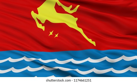 Magadan City Flag, Country Russia, Russian Federation, Closeup View, 3D Rendering