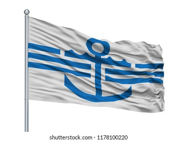 Magadan City Flag On Flagpole, Country Russia, Russian Federation, Isolated On White Background