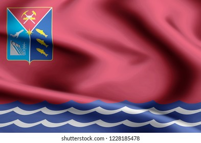 Magadan modern and realistic closeup flag illustration. Perfect for background or texture purposes.