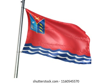 Magadan Oblast region of Russia flag waving isolated on white background realistic 3d illustration