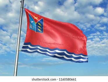 Magadan Oblast region of Russia flag waving with sky on background realistic 3d illustration