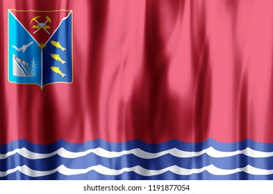 Magadan stylish waving and closeup flag illustration. Perfect for background or texture purposes.
