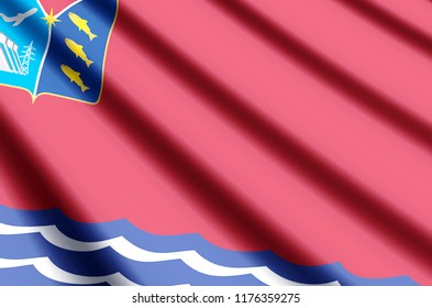 Magadan waving and closeup flag illustration. Perfect for background or texture purposes.