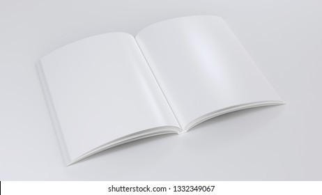 Magazine clear mockup. 3d render illustration. Open notepad with realistic light and shadow on page. Sketchpad empty template. Blank paper note. Clear journal model top perspective view