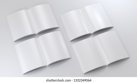 Magazine clear mockup set. 3d render illustration. Open notepad with realistic light and shadow on page. Sketchpad empty template. Blank paper note. Clear journal model. Four spreads collection