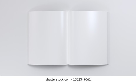 Magazine clear spread mockup 3d render illustration. Open notepad with realistic light and shadow on page. Sketchpad empty template. Blank paper note. Journal model top view