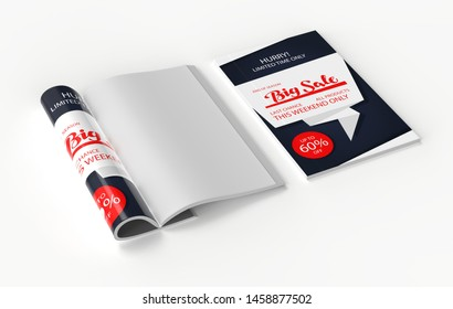 Magazine with rolled white paper pages isolated on white background. blank book, catalogue or brochure with folded sheets mock up. 3d illustration