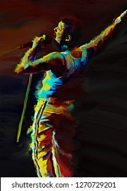 Magelang indonesia, december 31, 2018 :potrait freddie mercury on color abstract art style isolated.