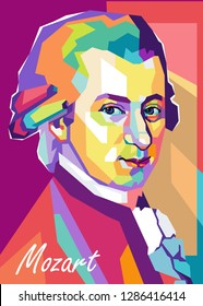 Magelang, Indonesia - January 17th 2019 : Portrait of Wolfgang Amadeus Mozart (27 January 1756 – 5 December 1791) was a prolific and influential composer of the classical era in colorful abstract.