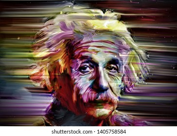 Magelang Indonesia, may 24, 2019: Albert Einstein is a theoretical physics scientist, Illustration of abstract paintings.