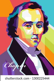 magelang,indonesia - january 31,1 : portrait of chopin was a composer and pianis in pop art.