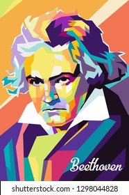 Magelang,Indonesia-January 29,2019 : portrait of beethoven was a German composer and pianist in colorful pop art.