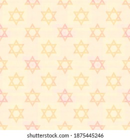 Magen David - the symbol of Judaism against a delicate festive background in pastel shades of pink and peach suitable for a girl's 12th birthday celebrations (bat mitzvah), wrapping and greeting cards