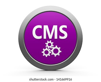 Magenta CMS emblem isolated on white background, three-dimensional rendering