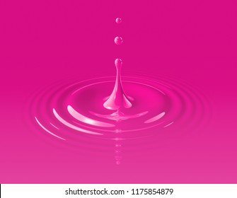 Magenta paint drop splashing and making ripple. 3D illustration