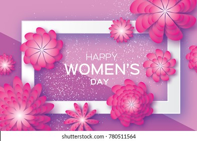 Magenta Paper Cut Flower. 8 March. Women's Day Greeting card. Origami Floral bouquet. Rectangle frame. Space for text on purple. Happy Mother's Day.  Spring illustration