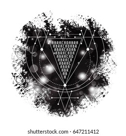 magic alchemy symbol Abracadabra. geometric logo for spirituality, occultism, tattoo art and print. ideal for imagination, magic, creativity, religion, astrology.
