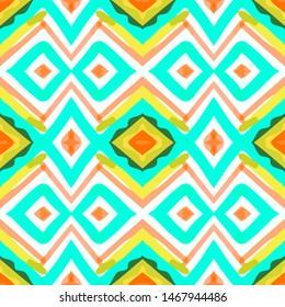 Magic Arabian Leaf Arabesque. Gouache Ginger color Arabesque. Dashiki Twiddle Tile. Sky and Pink color. Endless Oriental Imprint.